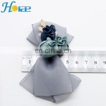 Wholesale handmade fabric show flower shoe accessories bow for shoe and hair clip