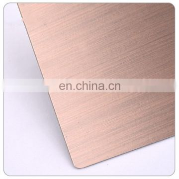 ASTM a240 tp304 hairline finish golden color 410 grade golden stainless steel sheet