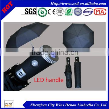 2015 HOT sell fashion 3 folds LED umbrella promotion gift automatic open & close led folding umbrella