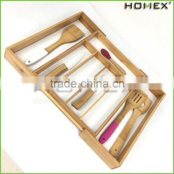 Bamboo cabinet drawer inserts-kitchen cutlery tray Homex-BSCI