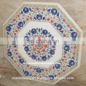 Beautiful White Marble Inlaid Table Top