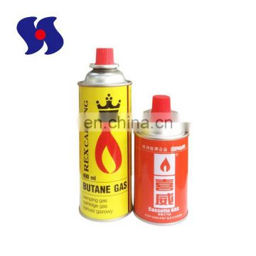 Butane Gas Cartridge Aerosol Tin Can with Valves