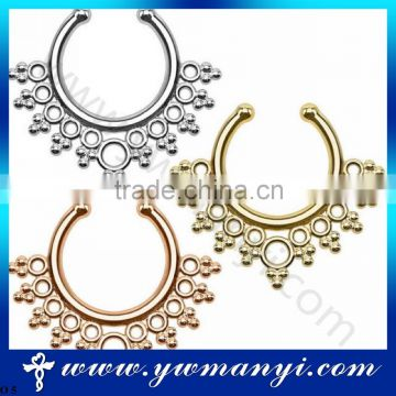 Newest design women jewelry of fake septum nose ring no piercing for wholesale O 5