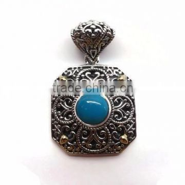 925 sterling silver indian handcrafted rare sleeping beauty turquoise gemstone pendant with 18k gold accents