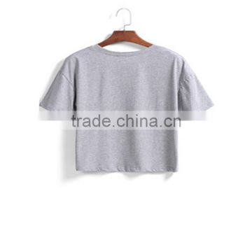 china supplier ladies t-shirt short sleeve pure color grey turtle neck tee for ladies