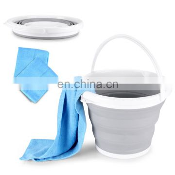 10L travel foldable bucket for outdoors use, portable collapsible bucket for beachsports
