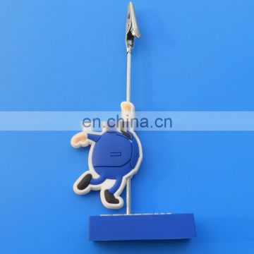 customized 3d logo soft pvc plastic memo clip holder stand