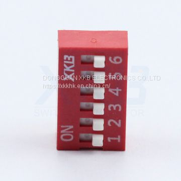 Red blue 2.54 pitch 6 position vertical pin type dip switch
