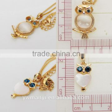 Fashion new design gold pendant opal owl npendant with chain