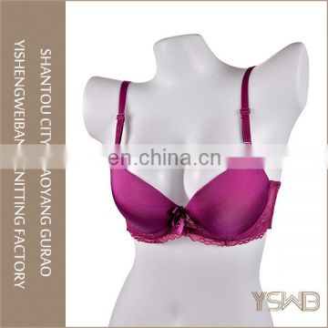Pretty lace decoration smooth surface custom eco push up bra