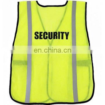 Security mesh vest with hi vis strips logo can be customized