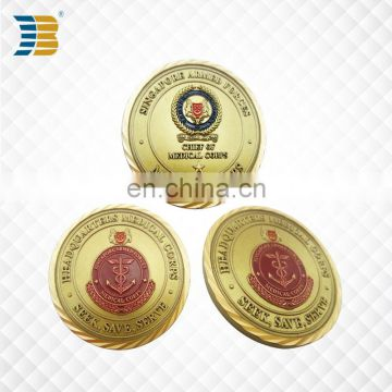 custom gold plating engraved souvenir coin for medical corps