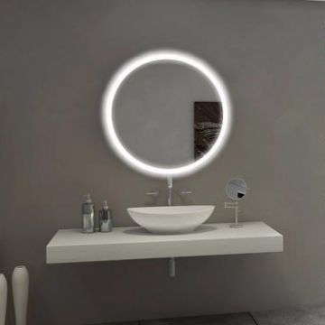 Round shape ring light led mirror for bathroom