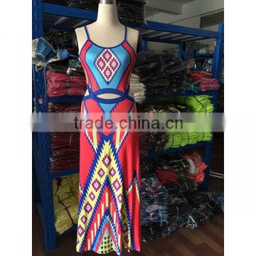 2016 Summer Fashion Women Dress Ladies Sleeveless Halter Neck Ethnic Printed Bodycon Sexy Long Maxi African Dresses
