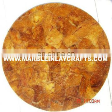 Yellow Round Tiger Eye Coffee Table Top