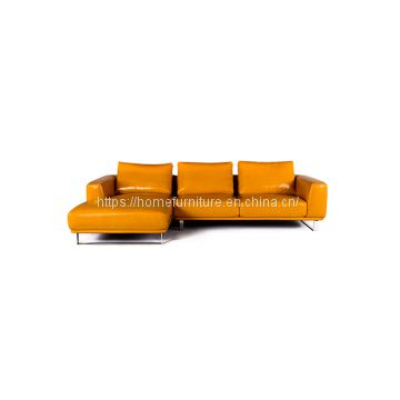 Contemporary Design L Shape Corner Yellow Leather Tufted Sofa Bed