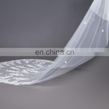 long Ivory Lace Trim Wedding Veils 2017 white Bridal Veils Wedding Accessories