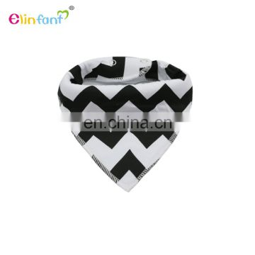 Elinfant Amazon hot selling custom color 100% cotton with 2 button snaps knitted baby bandana drool bibs