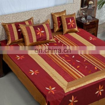 home textile handmade Soft Silk Material bedsheet with pillow cases 100% cotton bedding sets
