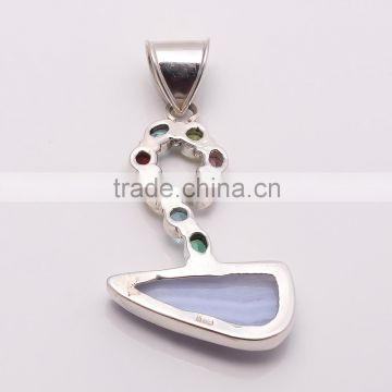 BLUE LACE AGATE & MULTI-STONE 925 Sterling Silver Pendant, SILVER JEWELRY EXPORTER,SILVER JEWELRY WHOLESALE,SILVER EXPORTER
