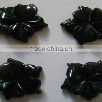 Black Onyx 20 mm flower cabochons-loose gemstones and semi precious stone cabochon beads for jewelry supplies and components