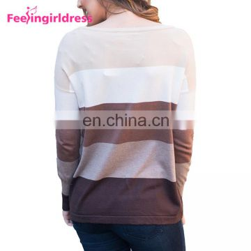 Wholesale Low Price Long Sleeves Striped Knitted Fashion Sweater For Women