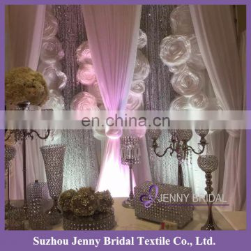 BCK114 cheap retractable indian style luxury hotel curtains with organza flowers