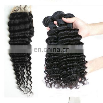 Cheap peruvian deep wave hair Virgin hair top quality deep wave bundles with closure