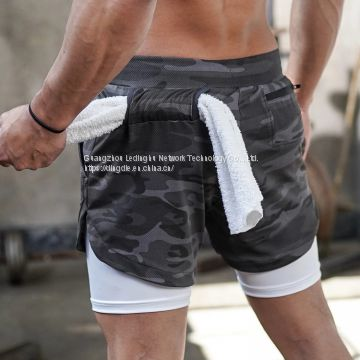 Men's running shorts sports and leisure outdoor loose multi-pocket double-layer fitness pants
