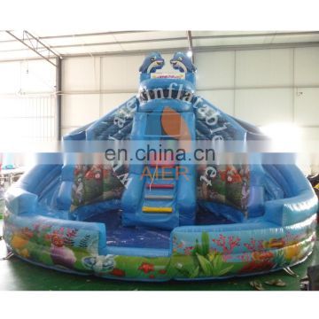 popular inflatable plastic slide toy / best quality outdoor playground water slide / cute dolphin inflatable pool slide