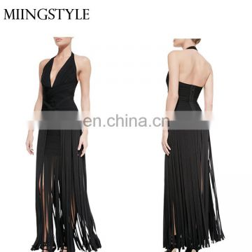 woman bodycon halter v neck maxi party dresses , latest designs sexy bandage dress quality with fringe