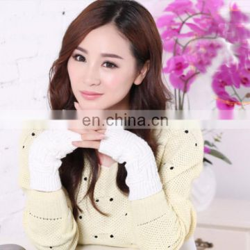 Wholesale autumn and winter half acrylic gloves hook flower type knitting women warm gloves