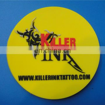 embossed logo yellow round shape bar silicone rubber tea cup coaster