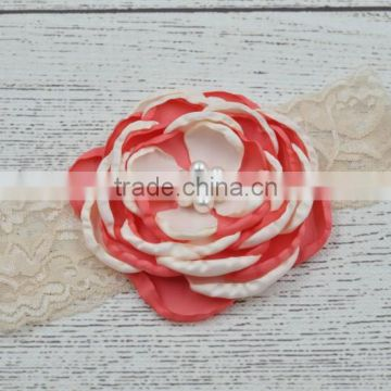 Lace and pearl baby hair head band fashion kids accessories for party                                                                                                         Supplier's Choice