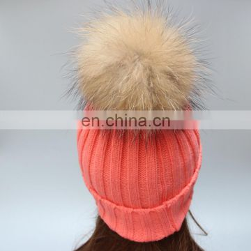 Hand made raccoon fur pompom for crochet knitted hats winter knitted hats for girl women