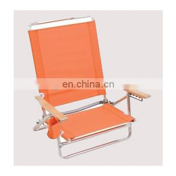Factory direct sell wooden armrest folding beach chair