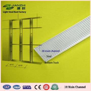 Guangzhou factory wholesale 38*12mm main channel galvanized light steel keel for ceiling system