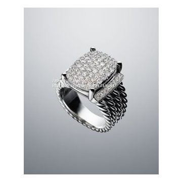 Sterling Silver 925 Design Inspired 16x12mm Pave Diamond Wheaton Ring