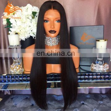 Best Selling Human Virgin Hair Lace Front Wig Natural Color Bleached Knots Straight Heavy Density Brazilian Hair Full Lace Wig