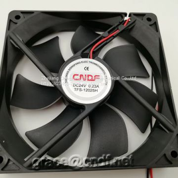 CNDF lead wire 8inch dc brushless cooling fan 120x120x25mm 24VDC 0.23A 5.52W 2200rpm cooling fan