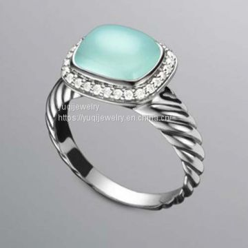 Sterling Silver Jewelry 10x8mm Noblese Ring with Aqua Chalcedony(R-046)