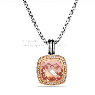 925 Silver Jewelry14mm Albion Pendant with Morganite CZ in Gold Plated(P-021)