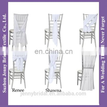 C389C cheap white chair covers chiffon chair sash