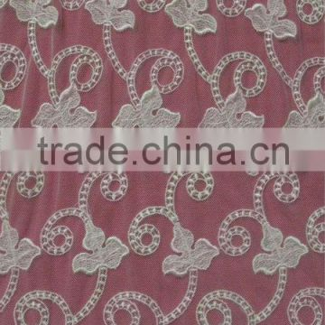 "Heavy Embroidery Nylon Poly Net Full Wide 55"" Lace Fabric"