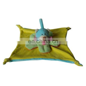 New plush baby blanket funny bear toy for baby Eco-friendly plant dyeing soft baby blankie B0051