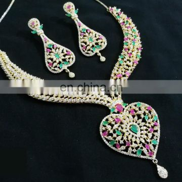 Multi-Color Blossomy Heart Gold Plated American Diamond Jewelry Necklace Earrings Set