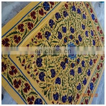 Uzbek Indian Cotton suzani Embroidery Bed cover Bedspread Pillow Cover Bed Sheet