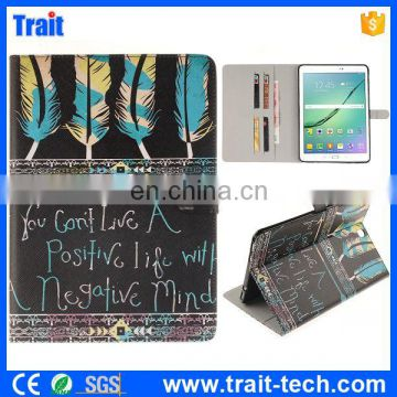 Mixed Color Feathers Pattern Soft TPU+ PU Leather Antiscratch Full Body Case for Samsung Galaxy Tab S2 T810