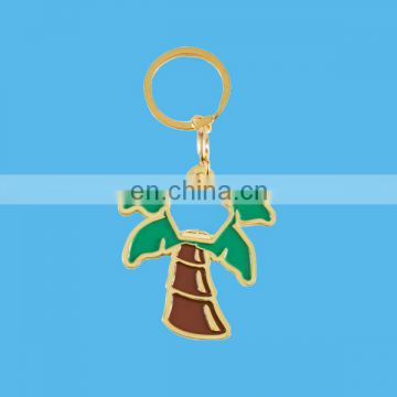 custom metal palm tree keychain with enamel