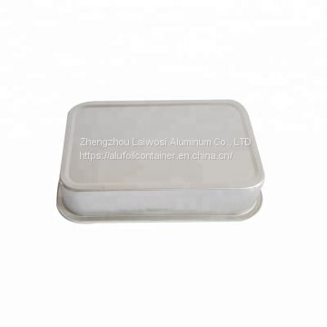 High Quality White Coated Airline Aluminium Foil Container With Lid For Inflight
